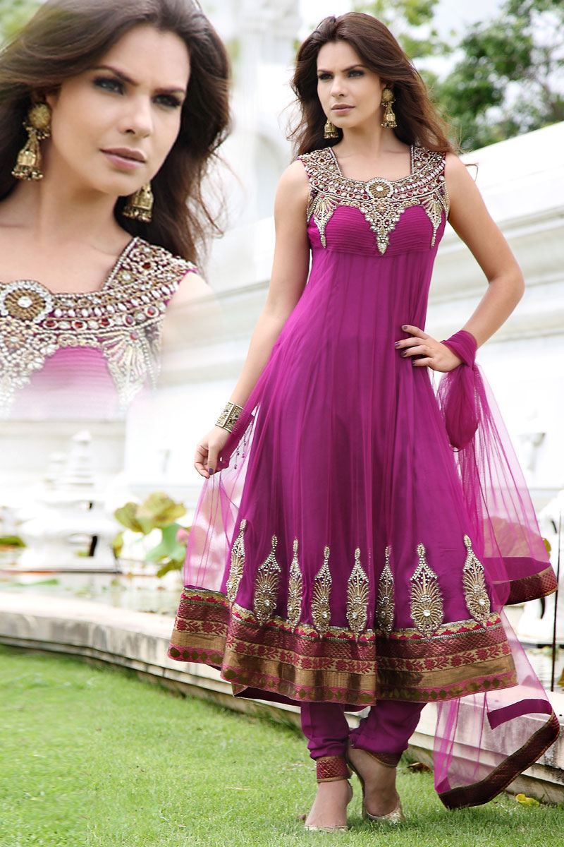 Embroidered Anarkali Churidar Dresses