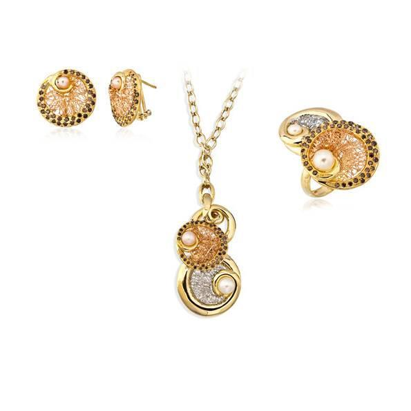 Colored Diamond Flowery Jewelry Sets