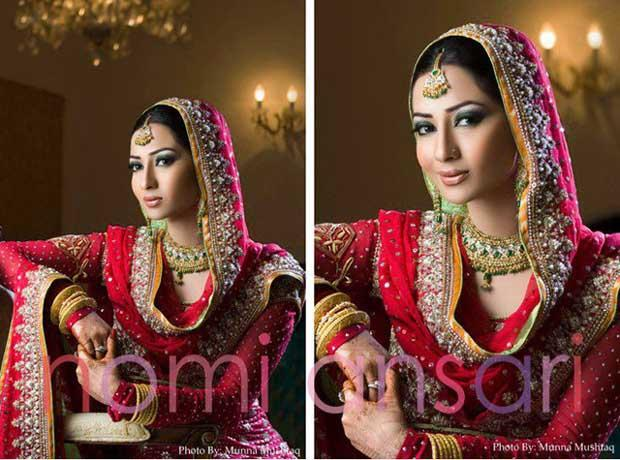 Beautiful Elegant Coral Bridal Outfit by Nomi Ansari