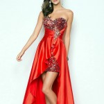 Long Embellished Sweetheart Red Prom Dress 2013