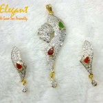 Diamond Gold Bridal Wear Pendant By Elegant